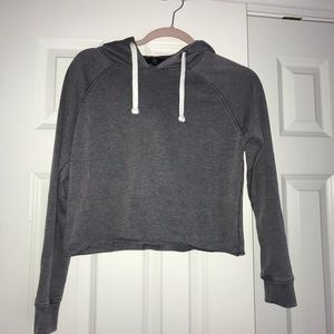 Missguided navy cropped hoodie